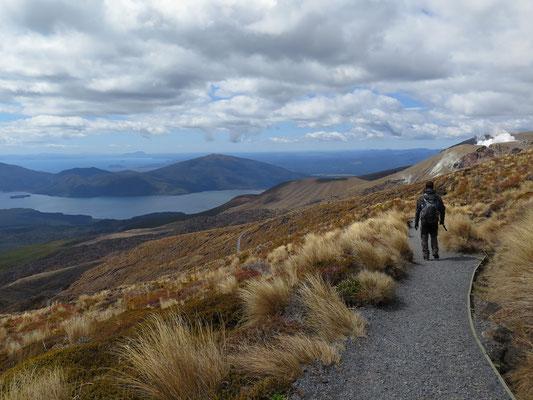 Tongariro Alpine Crossing Wanderung. Die letzten Kilometer