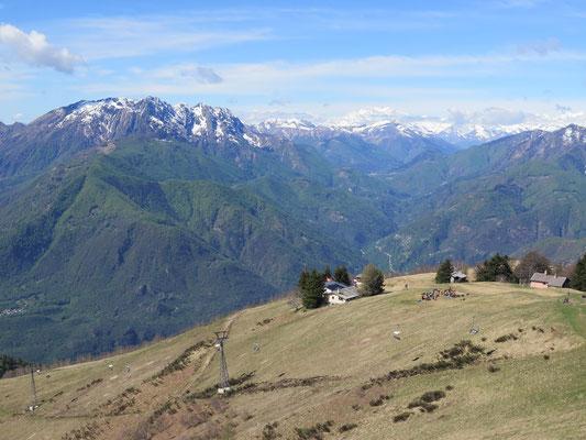 Aussicht vom Cimetta zum Monte Rosa bis hin zum Jungfrau etc.
