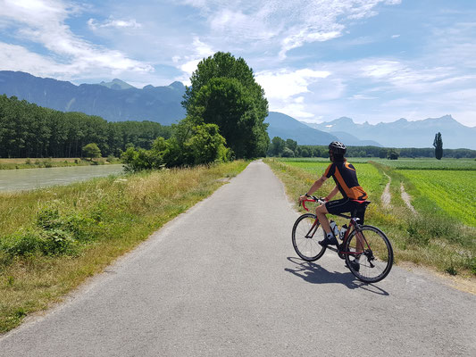Radfahrt im Rhonetal