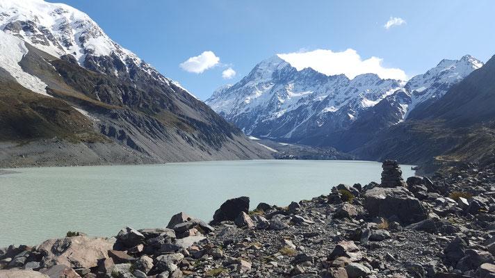 Hooker Valley Trail - Mount Cook im Hintergrund