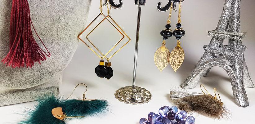 Boucles d'oreilles fantaisie artisanales en céramique, perles de verre et hématite