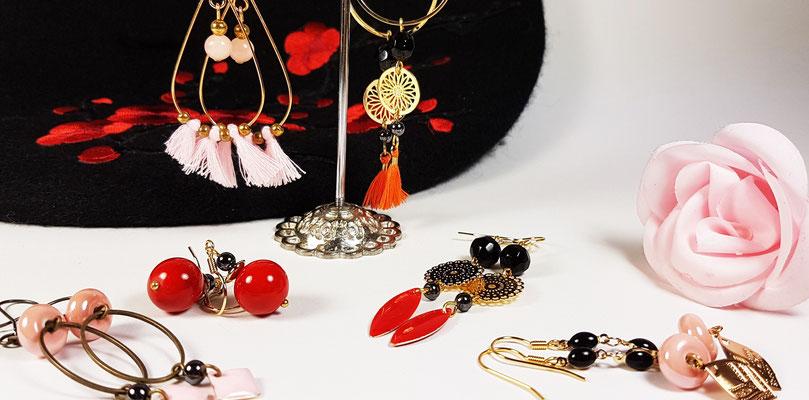 Boucles d'oreilles fantaisie artisanales en nacre, céramiques, agates, howlite, cristal de roche et quartz