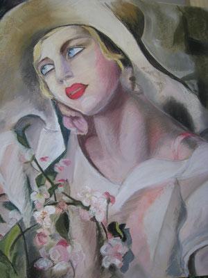 Copie Tamara de Lempicka 'jeune fille' - pastel - 40x30