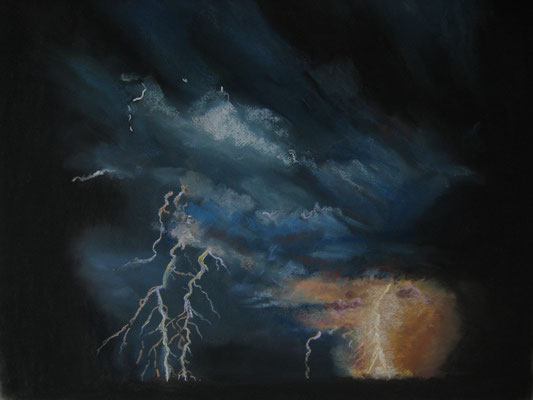 Nuit d'orage - pastel - 40x50