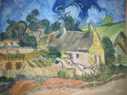 Copie de Van Gogh 'cyprès' - pastel - 40x50