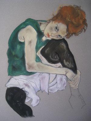 Copie de Shiele - femme - pastel - 40x30