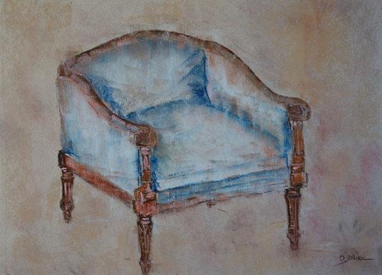 fauteuil XVIII ème - pastel - 30x40