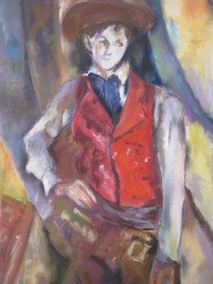 Copie de Cezanne ' le garçon au gilet rouge ' - pastel - 40x30