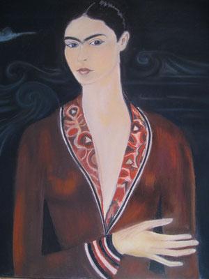 Copie Frida Khalo autoportrait - pastel - 40x30