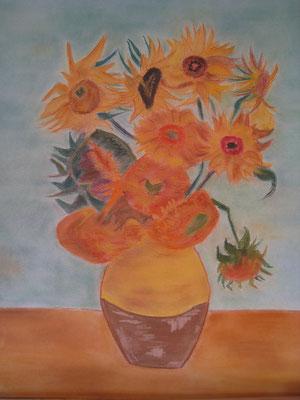 Copie de Van Gogh 'tournesols' - pastel - 40x30
