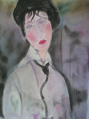 Copie de Modigliani 'femme avec cravate' - pastel - 40x30