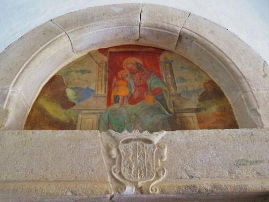 Dipinto e stemma Gesualdo-D'Este- Ingresso Cappella