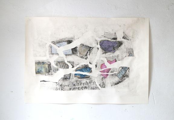 Meine Scherben Sie rühren sich, 70 cm x 100 cm Papierlithografie, Tusche und Ölkreide, 2020