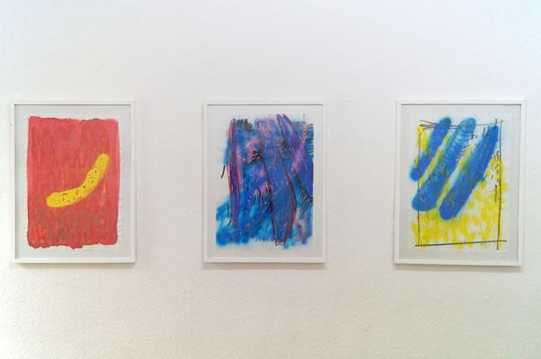 Wurmserie (Blatt 1-3), Sprühfarbe und Ölkreide auf Papier, 50 x 70 cm, 2018