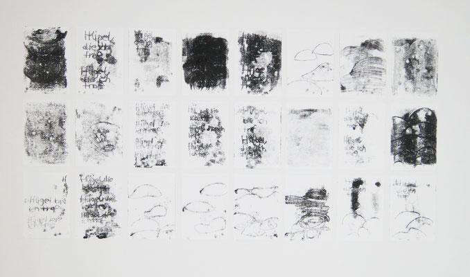 """""""Hügel die ich traf"""", 24 teilig, Din A4, Monotypie, Burgbrohl, 2019"""