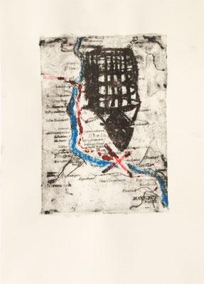 treasuremaps A: 3, 21 cm x 29,7 cm Papierlithografie und Zeichnung, 2020
