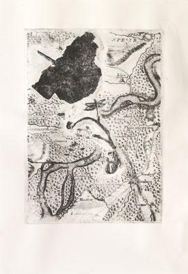 treasuremaps B: 1, 29,7 cm x 42 cm, Papierlithografie und Zeichnung, 2020