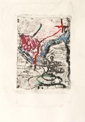 treasuremaps A: 6, 21 cm x 29,7 cm Papierlithografie und Zeichnung, 2020