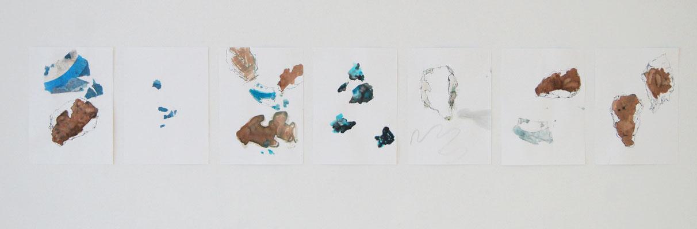"""""""Stein Geschichten"""", 7 teilig, Collage, Chinatusche und Aquarell auf Papier, Burgbrohl, 2019"""