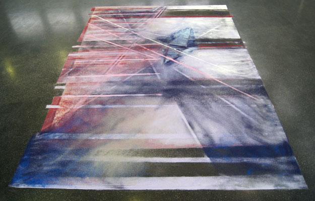 GLISTER,Farbsand auf Boden, 6x4 cm,2017