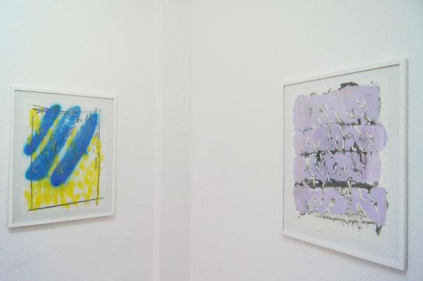 rechts: Staare, Monotypie und Malerei, 50 x 70 cm, 2018