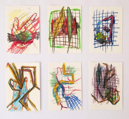 Vom Suchen und Finden 1-6 14,8 cm x 21cm Ölkreiden auf Papier, 2020