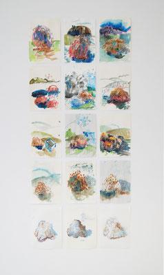 """""""Hügel-Impressionen"""",15 teilig, A4, Ölkreide und Tusche auf Papier, Burgbrohl,2019"""
