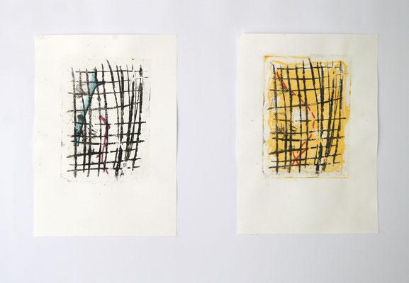 Planquadrate 29,7 cm x 42 cm Colalithografie und Laserdruck, Auflagendruck von je 7 Stück, 2020