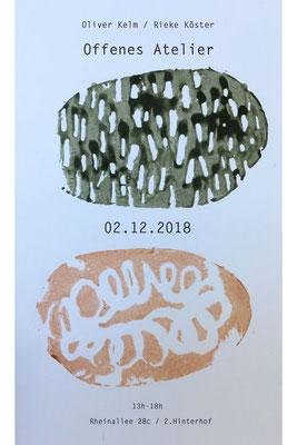 Flyer, Kartoffeldruck, 1 Kartoffel, für jeden Künstler eine Hälfte,, Gemeinschaftsarbeit oben Rieke Köster unten Oliver Kelm