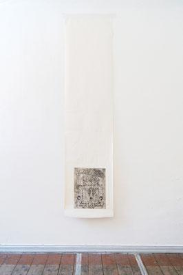 Der Umzug,  Radierung auf Makulatur, silbernes Klebeband, 53x2250 cm,2017