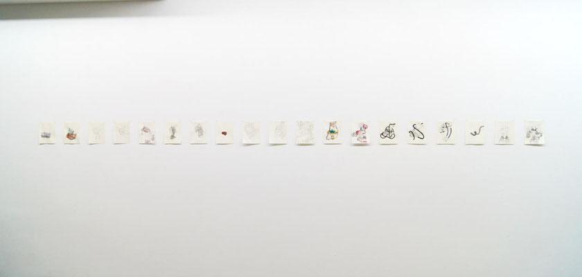 Kristalle  17 teilige Serie  Mischtechnik auf Papier  a 18x23 cm, 2015