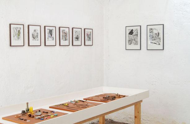 treasuremaps, Ausstellungsansicht, Papierlithografie und Zeichnung auf Papier, 2020