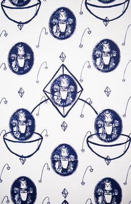 Tapete, Siebdruck auf Vliestapete  Ausstellungsansicht. Die Seele tritt nur durch den Mund aus   Diplomarbeit, allez, Mainz, 2015
