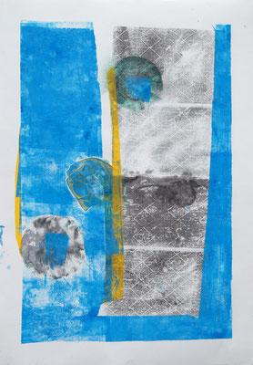 Lucy cries crystal stripes  22 teilige Druckserie  Mischtechnik, a 70x100 cm,2017