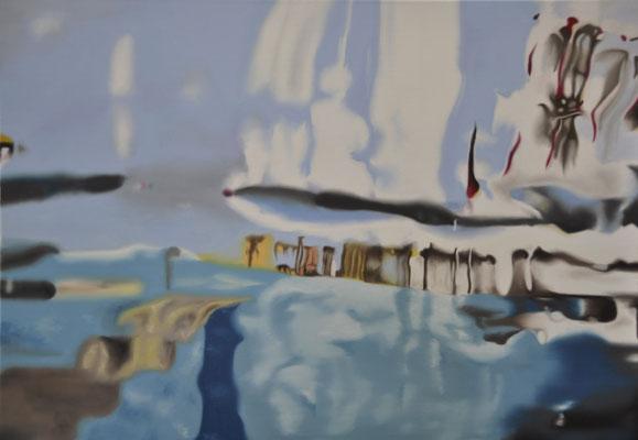 """es lief ihm eiskalt die kunst herunter! (""""underbove"""" series), oil on canvas, 90 x 65 cm, 2014 (private collection, LUX)"""