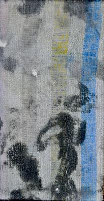 """numéro 12 (""""les témoins"""" series), oil on cotton, 10 x 20 cm, 2015"""
