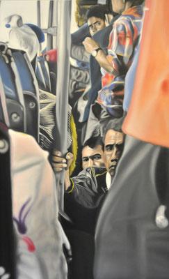"117 km (""head on a stick"" series) oil on canvas, 100 x 160 cm, 2016"