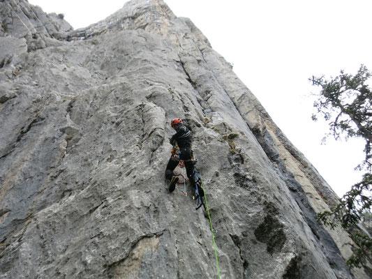 Damian klettert nochmals die 1. Länge