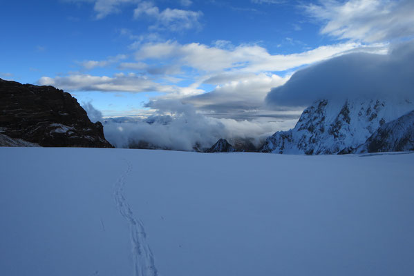 Blick zurück über den Yerupaja Westglacier.