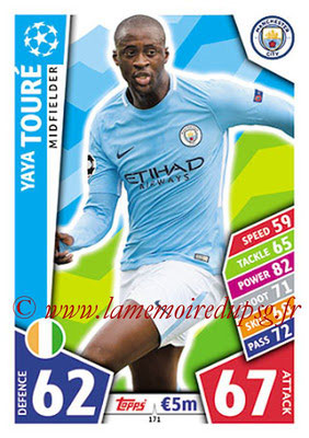 2017-18 - Topps UEFA Champions League Match Attax - N° 171 - Yaya TOURE (Manchester City FC)