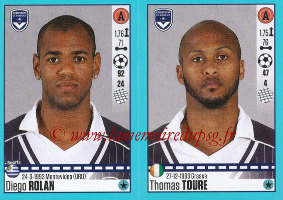 2016-17 - Panini Ligue 1 Stickers - N° 126 + 127 - Diego ROLAN + Thomas TOURE (Bordeaux)
