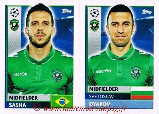 2016-17 - Topps UEFA Champions League Stickers - N° QFF 9-10 - Svetoslav DJAKOV + Lucas SASHA (PFC Ludogoretz Razgrad)