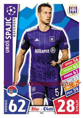 2017-18 - Topps UEFA Champions League Match Attax - N° 276 - Uros SPAJIC (RCS Anderlecht)