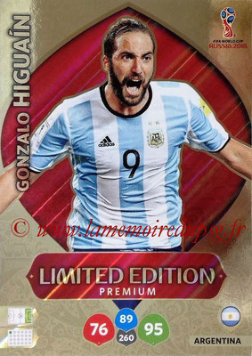 2018 - Panini FIFA World Cup Russia Adrenalyn XL - N° LE-GH - Gonzalo HIGUAIN (Argentine) (Limited Edition Premium)