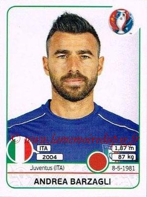 Panini Euro 2016 Stickers - N° 498 - Andrea BARZAGLI (Italie)