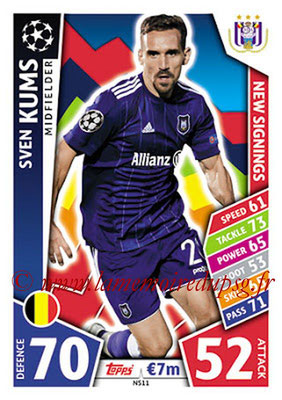2017-18 - Topps UEFA Champions League Match Attax - N° NS11 - Sven KUMS (RSC Anderlecht) (New Signings)