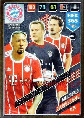 2017-18 - Panini FIFA 365 Cards - N° 443 - Jérôme BOATENG + Manuel NEUER + Mats HUMMELS (FC Bayern Munich) (Defensive Wall)