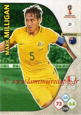 2018 - Panini FIFA World Cup Russia Adrenalyn XL - N° 021 - Mark MILLIGAN (Australie)