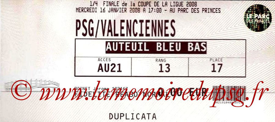 Tickets  PSG-Valenciennes  2007-08