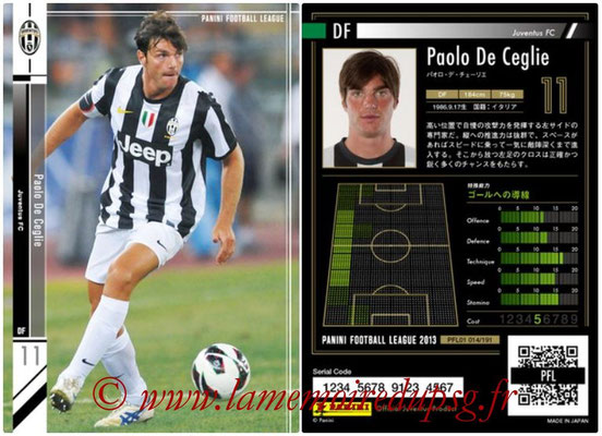 Panini Football League 2013 - PFL01 - N° 014 - Paolo De Ceglie ( Juventus FC )